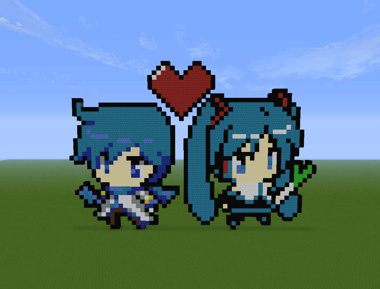 Kaito and Miku Pixel Art on Minecraft by Darkbrussel on DeviantArt
