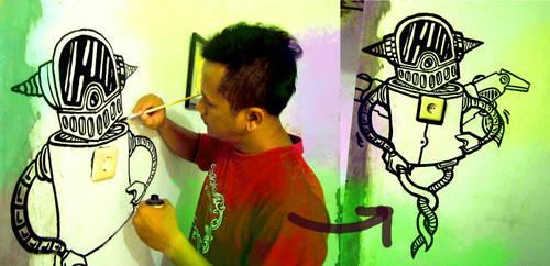 Mural in my studio wall by hizaro