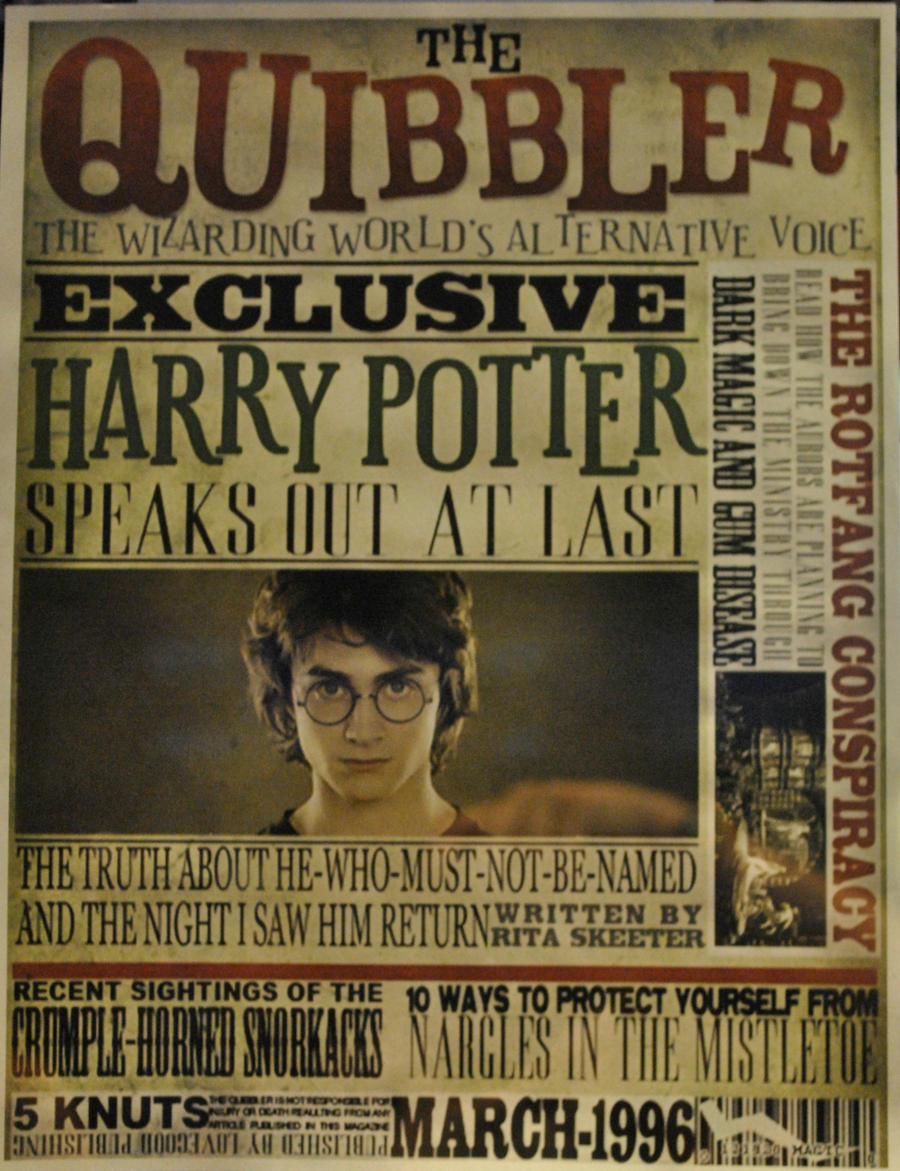 Quibbler Cover Poster by ZombiesAreNotArtsy on DeviantArtQuibbler Printable Free