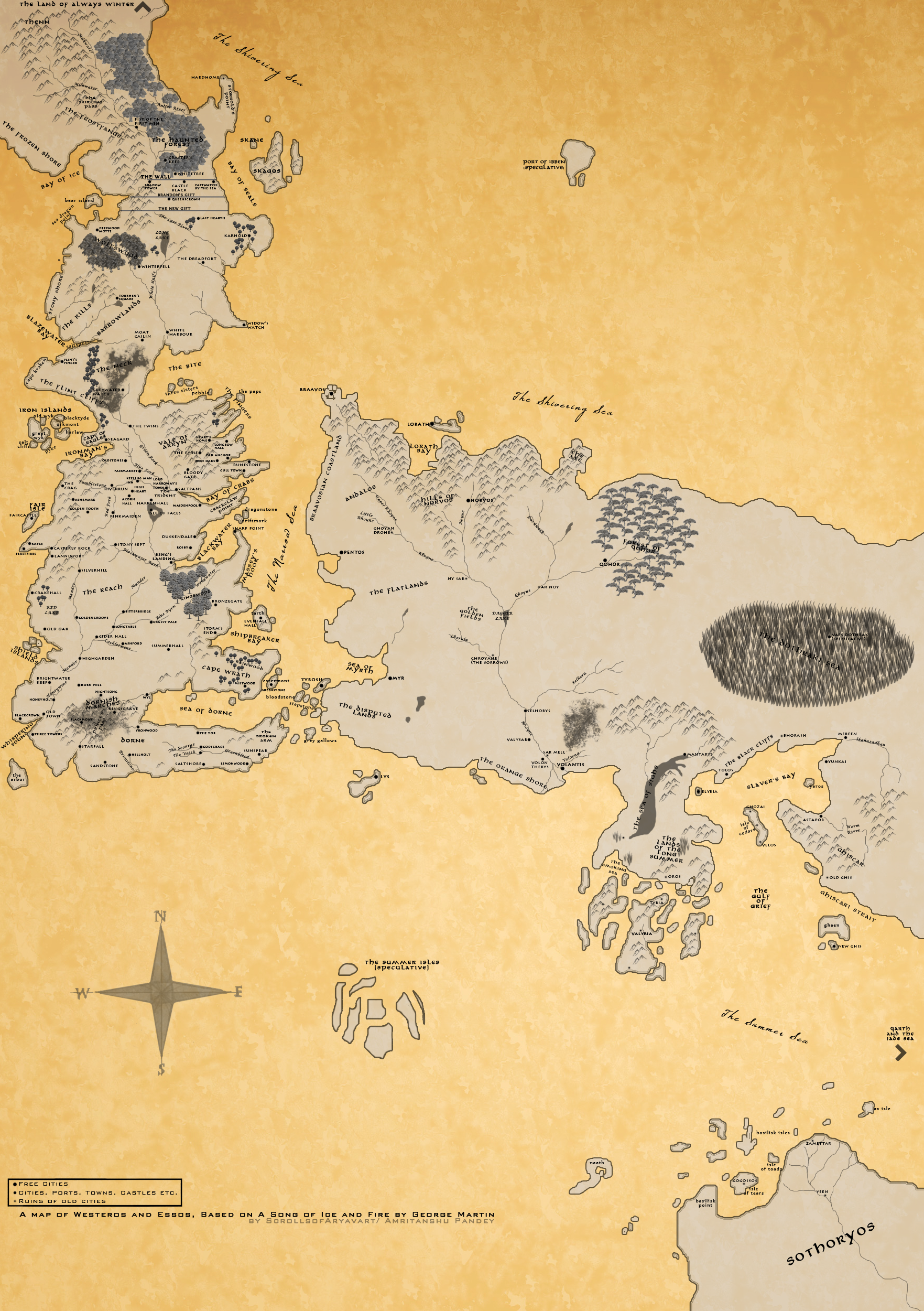 A Map of A Song of Ice and Fire by scrollsofaryavart