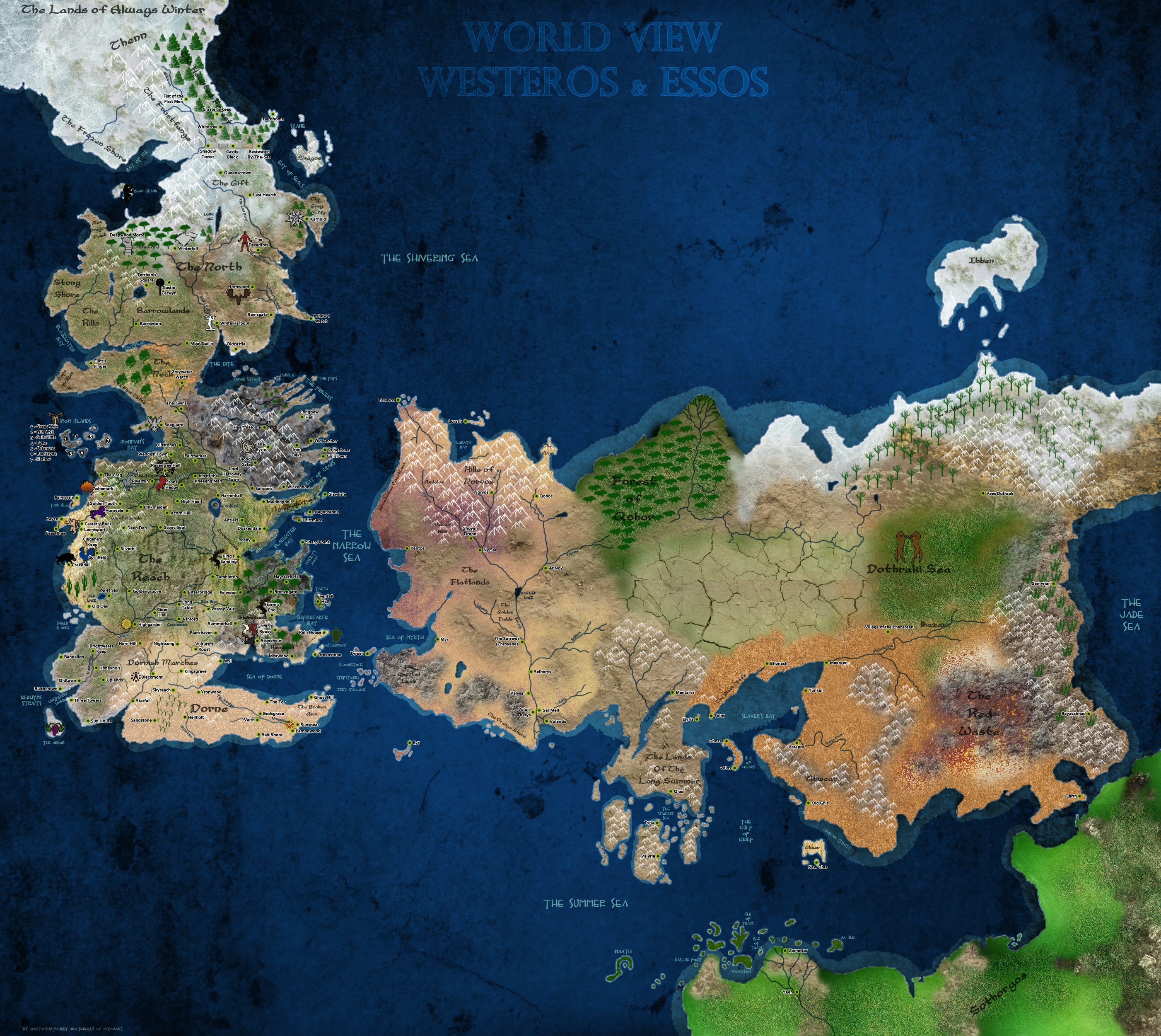A Map of A Song of Ice and Fire Version 3 by scrollsofaryavart