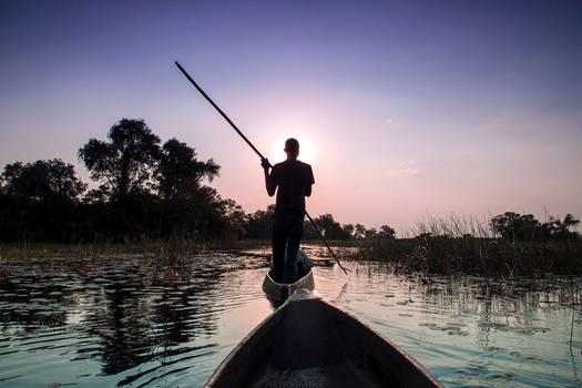 Botswana 2015 - Sunset in the mokoro...