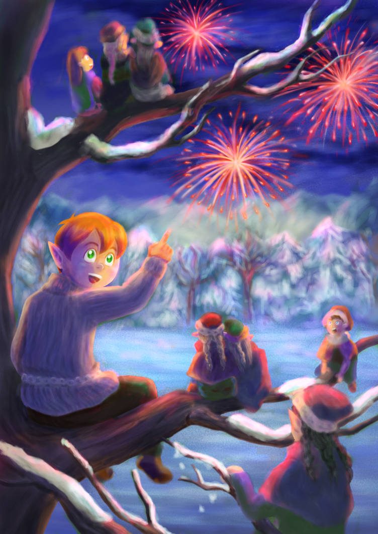 Enjoying the Fireworks by LittlePlace