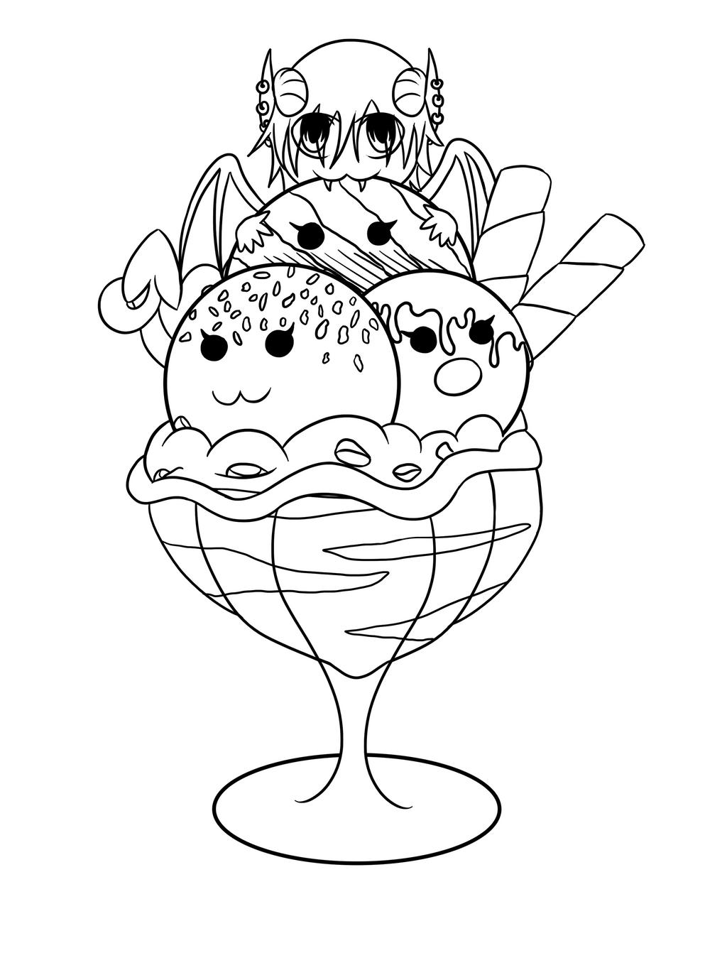 Line Art Ice Cream : Lucifer ice cream chibi lineart by irajiack on deviantart