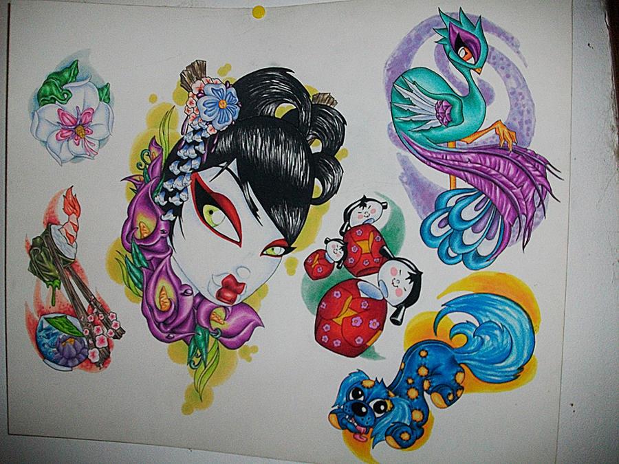 New School Asian Sleeve - sleeve tattoo