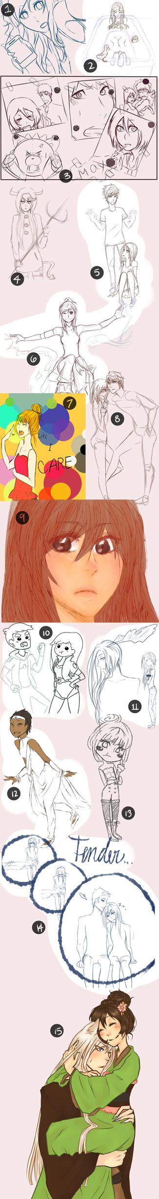 Sketch Dump 01 by k-k-katie