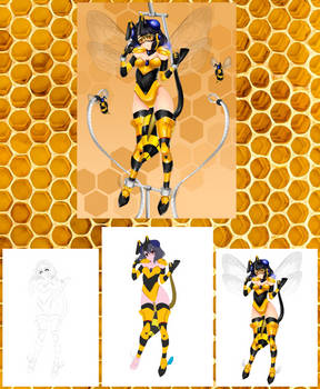 Bee Transformation Drawing Process