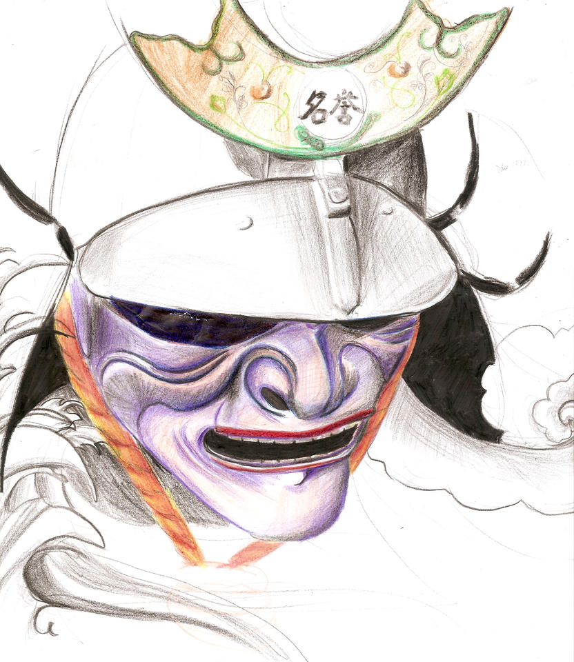 Japanese samurai mask drawing in color