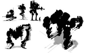 Mech silhouettes by Exphrasis