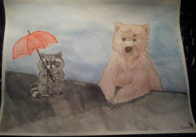 A raccoon with an umbrella and his beary companion by TheStupidFox