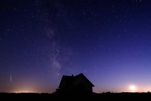 Meteor - Milky Way - Moon