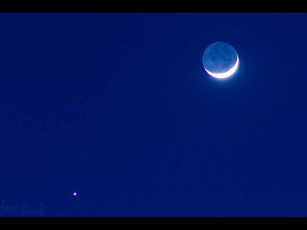 Earthshine Above Jupiter by FramedByNature