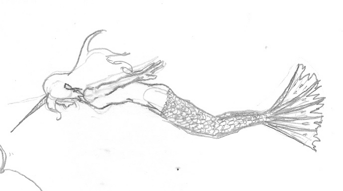 Mermaid Swimming Drawings Mermaid Swimming Drawing