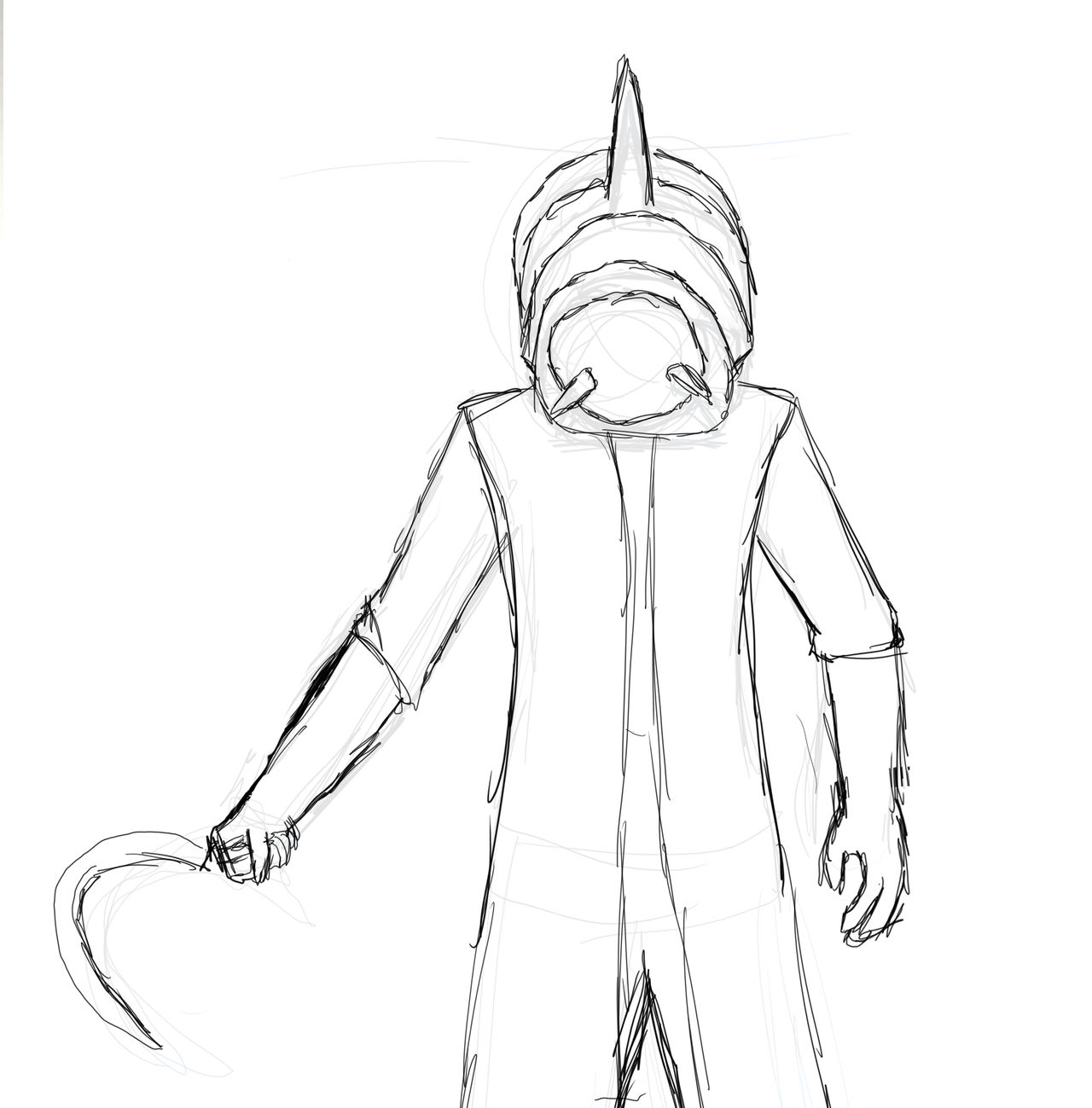 Here's a rough sketch of the helmet monster