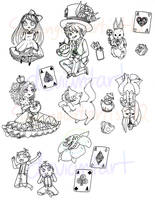 LINEART: Alice stickers by singingcatartist12