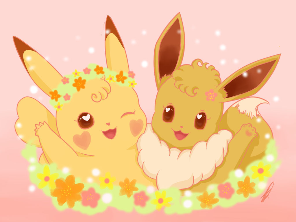 Valentine's Day! Pikachu x Eevee by karend07