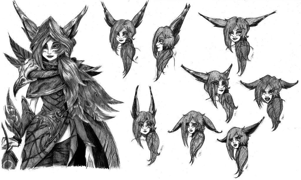 LoL: Xayah facial expressions by karend07