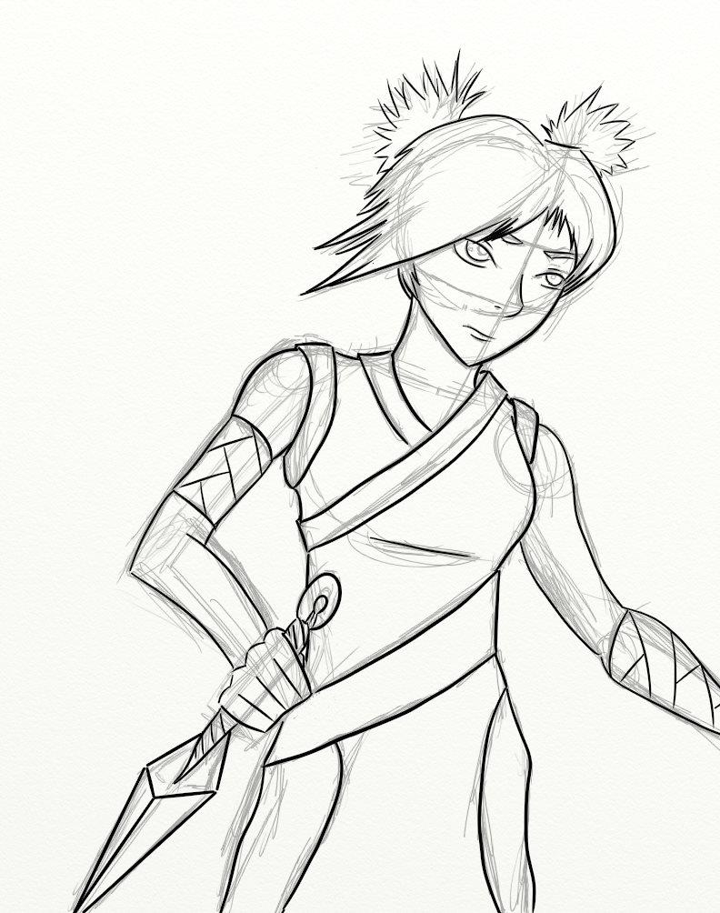 Pathfinder Character - Hana Machida (Inks) by mistformsquirrel
