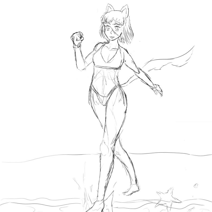Yumi at the Beach (Requested) (WIP) by mistformsquirrel