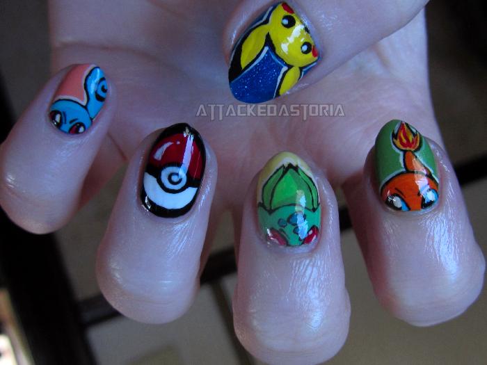 pokemon kanto starter nails by xtheungodx
