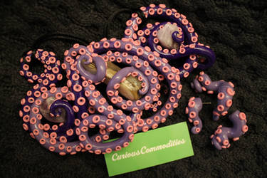 tentacle necklace + earrings set: purple ombre by ultraviolente