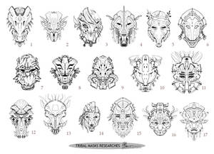 Tribal Mask Sheet by LauraBevon