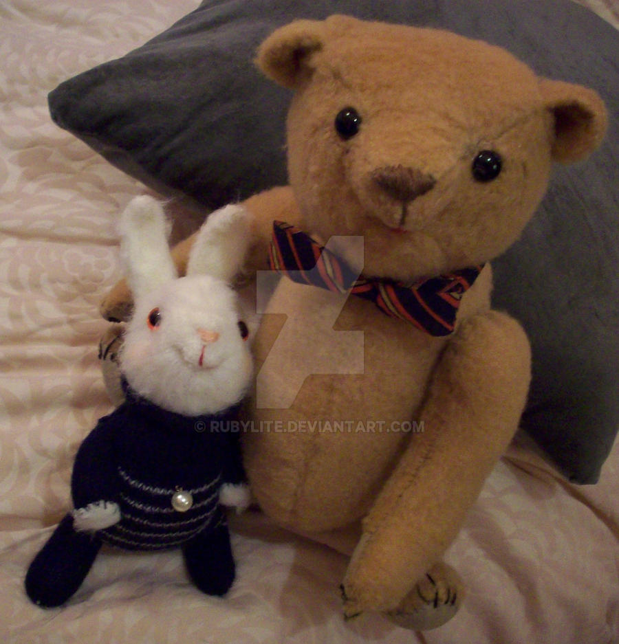 california grizzly teddy bear with white rabbit by rubylite on