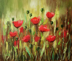 Red poppies.Small painting