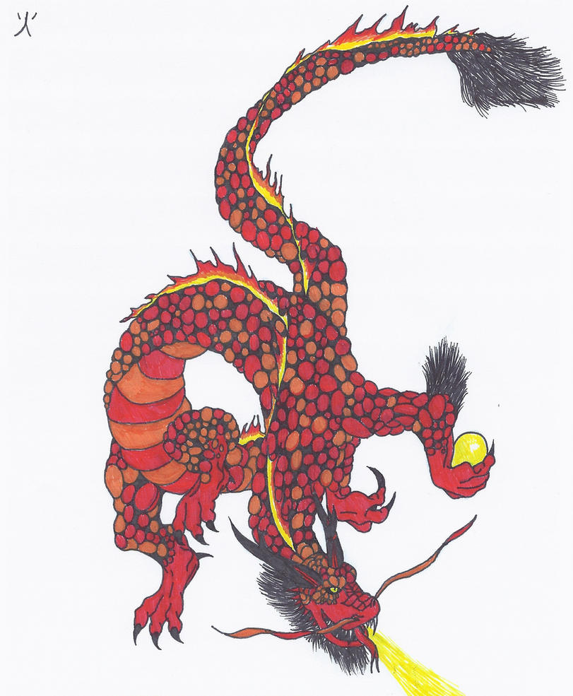 Color in japanese art - Japanese Lava Dragon Colored By Ninjaweretiger