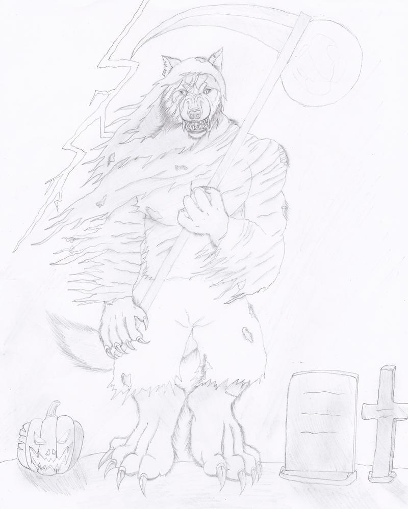 Halloween Grim Reaper Werewolf 2014 by NINJAWERETIGER