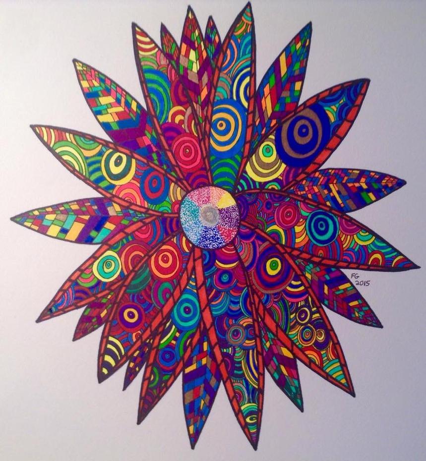 Rainbow Zendoodle Flower by NINJAWERETIGER