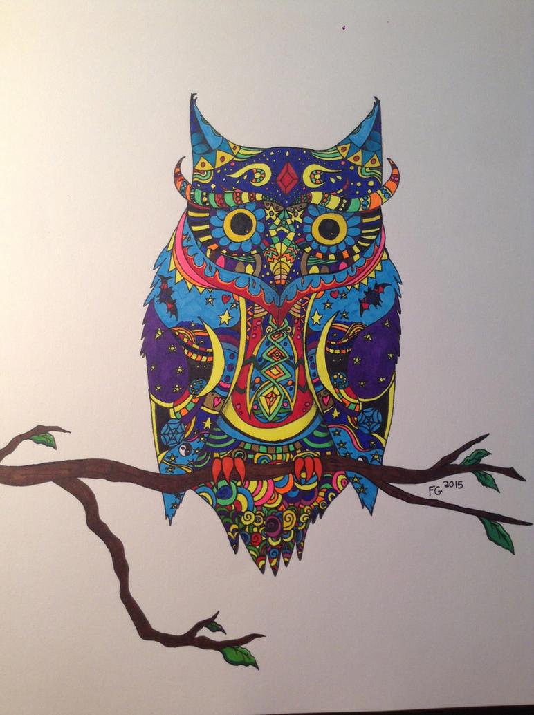 Zendoodle Owl by NINJAWERETIGER