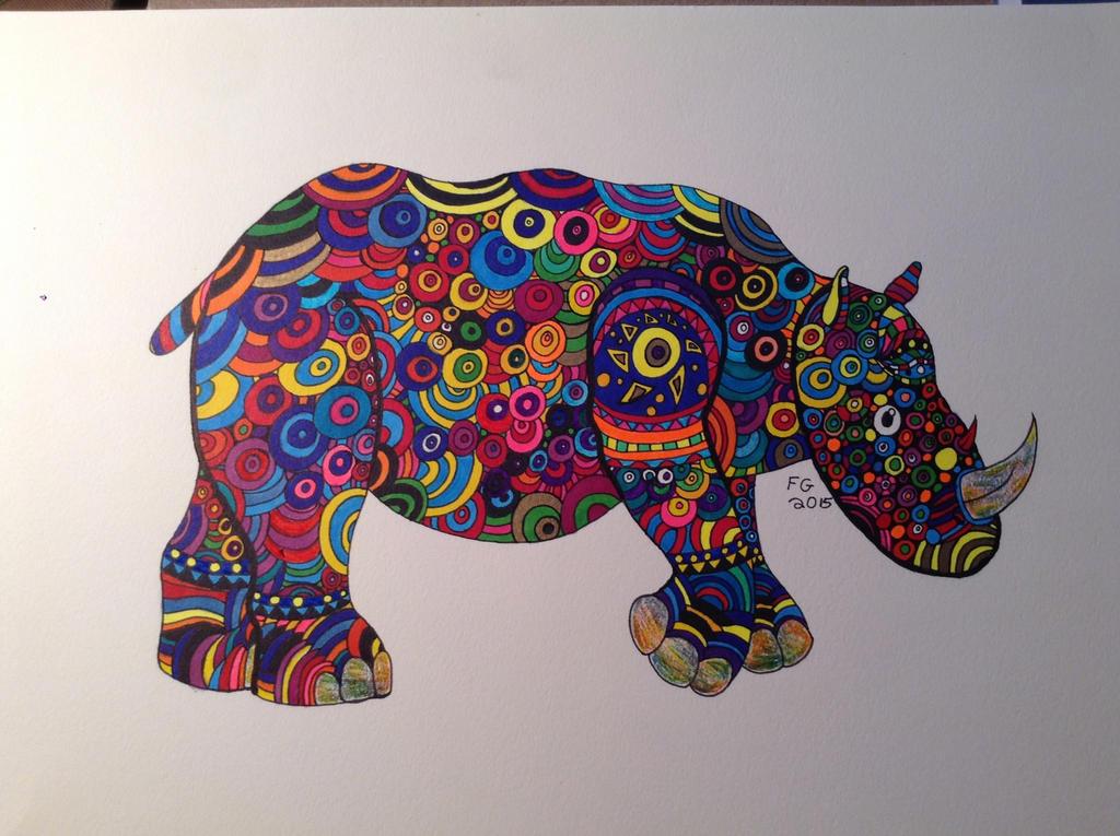 Zendoodle Rhino by NINJAWERETIGER