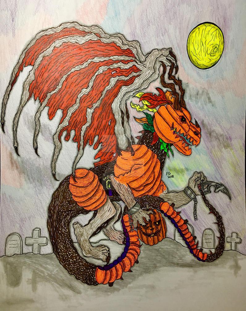 Pumpkin Halloween Dragon by NINJAWERETIGER
