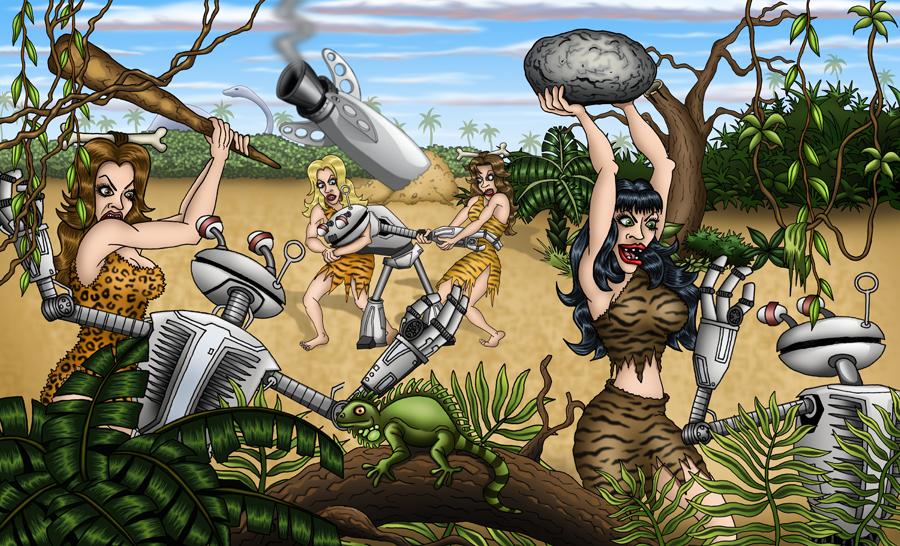 Cavegirls vs Robots by vonblood