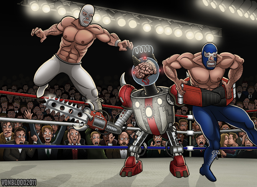Santo y Blue Demon Contra Deathbot by vonblood