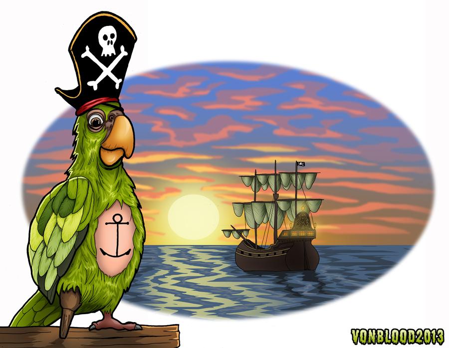 Pegleg Parrot by vonblood