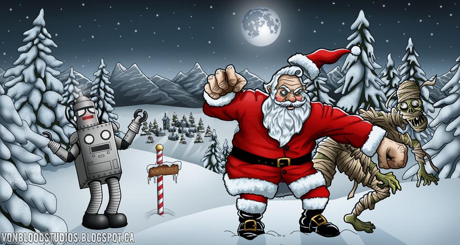 Santa vs the Aztec Mummy by vonblood