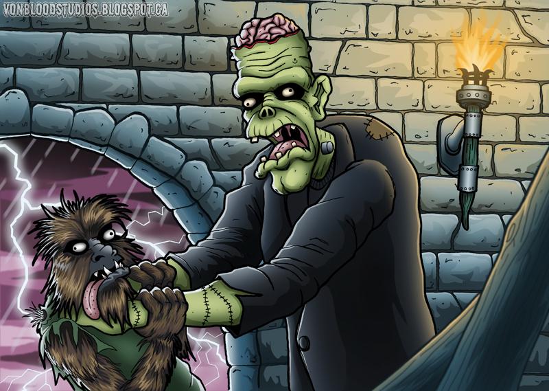 Frankenstein vs the Wolfman by vonblood