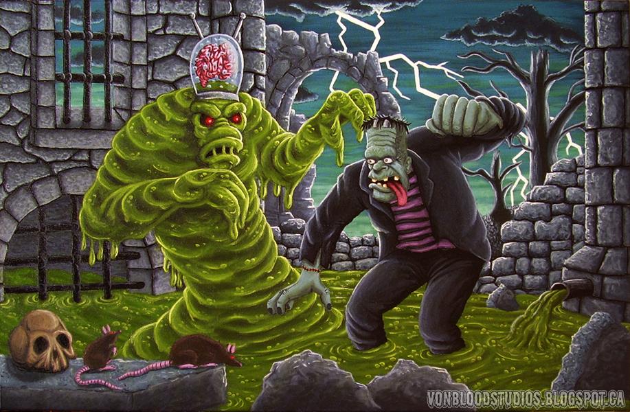 Frankenstein vs the Sludge Monster (painting) by vonblood