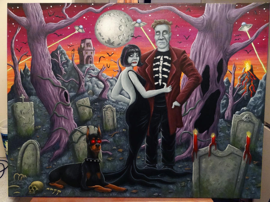 Graveyard Couple Painting by vonblood