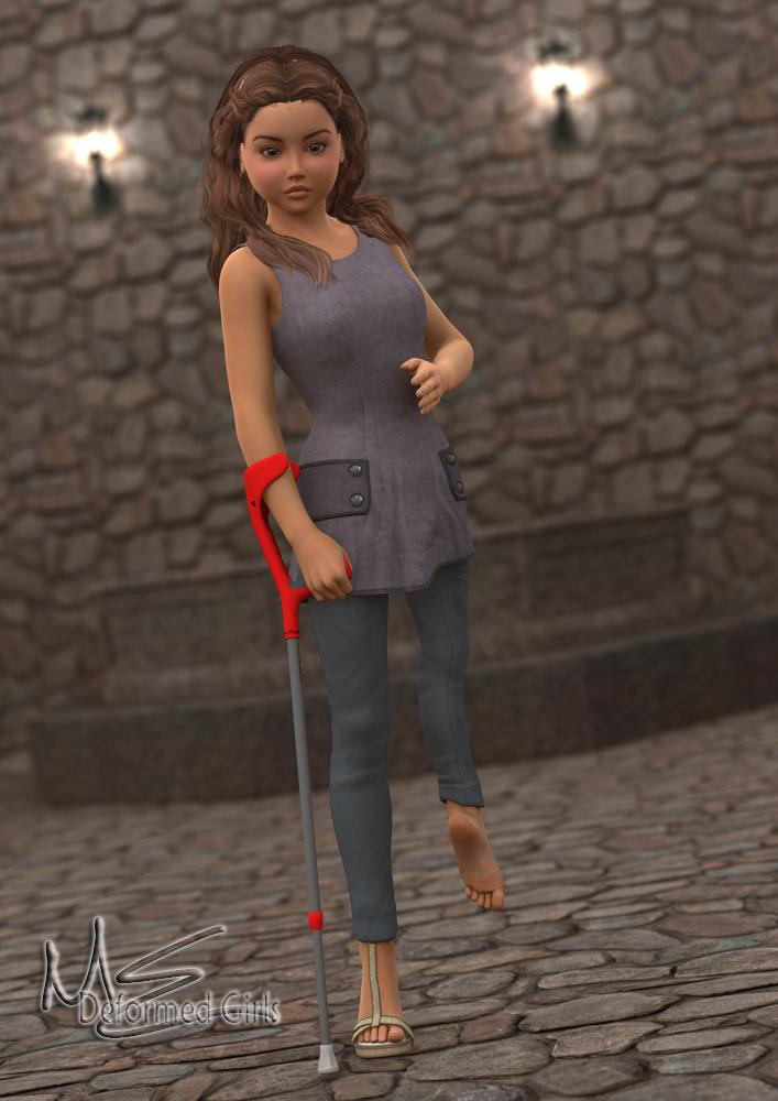 Paraplegic lady dangling legs 2