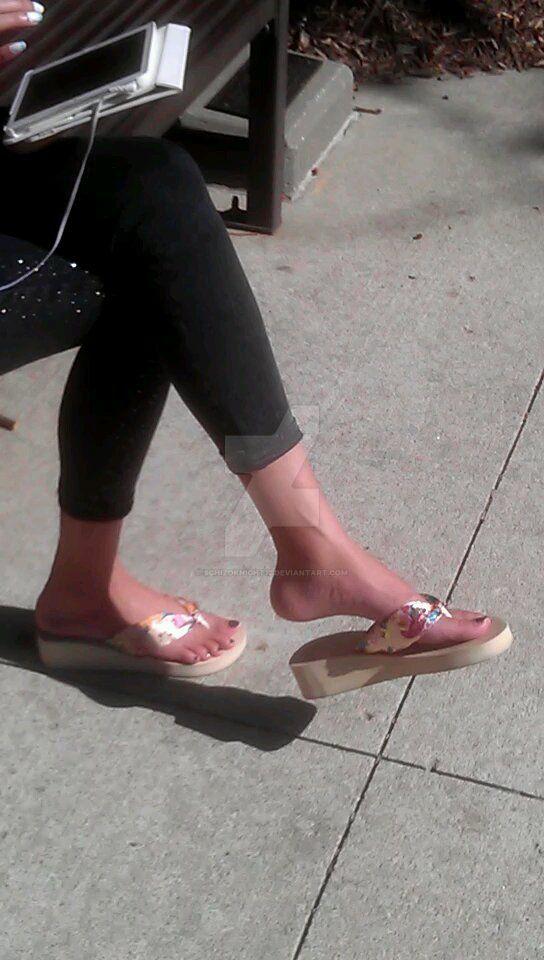 Kathleen's feet dangling her flipflops by schizoknight12