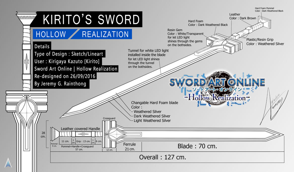 Sao hollow realization kirito 39 s sword blue print by for Print blueprints online