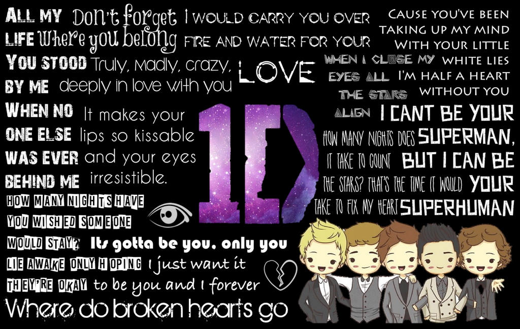 One Direction Lyrics Wallpaper By MysGirl88