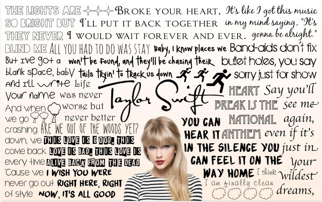 song lyrics for taylor swift View taylor swift song lyrics by popularity along with songs featured in, albums, videos and song meanings we have 10 albums and 258 song lyrics in our database.