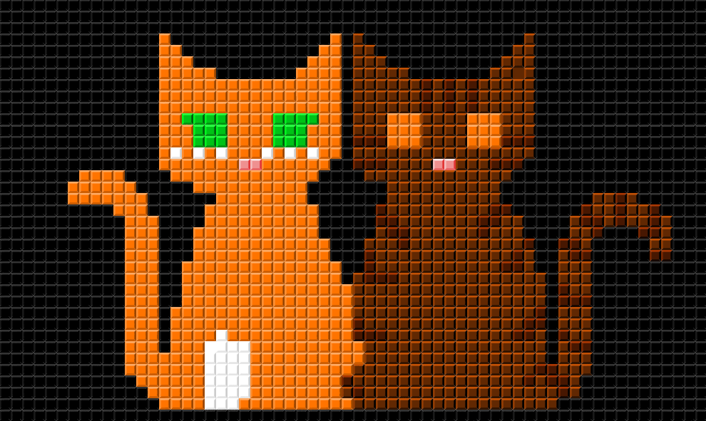 pixel brambleclaw and  squirrelflight by ambertail3557