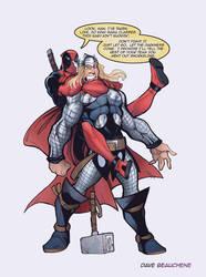 Deadpool vs Thor by DaveJorel