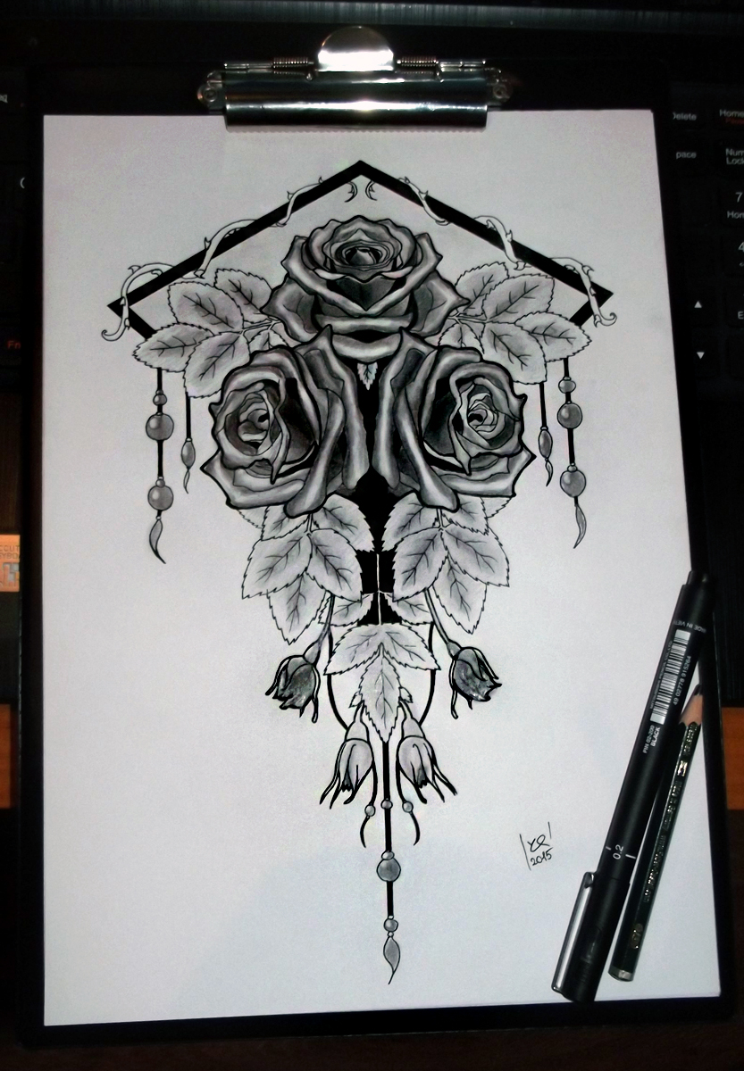 Three roses tattoo project final form by yo shi ko on for 3 roses tattoo