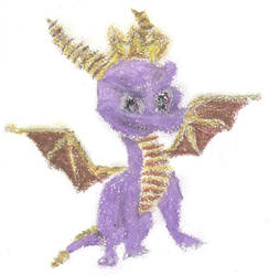 Pastel Drawing of Spyro the Dragon by xFlowerstarx